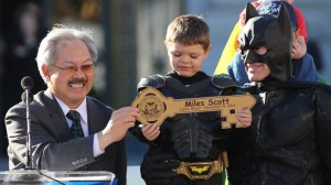 BatKid is given the keys to the city.