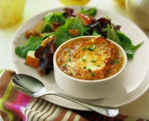 French onion soup with apple and walnut salad