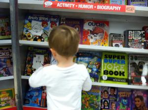 Perusing the shelves.