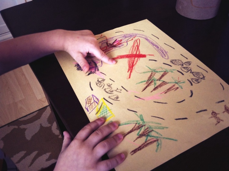 A piece of construction paper, some crayons, and in a few minutes, we were hunting for treasure.