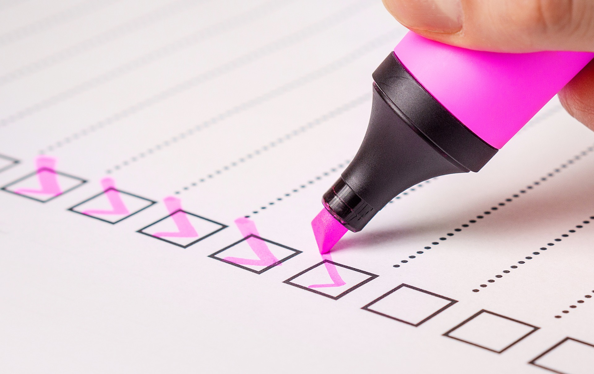 Checklist with highlighter