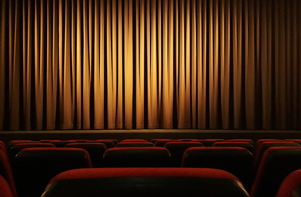 Theatre stage curtain seats