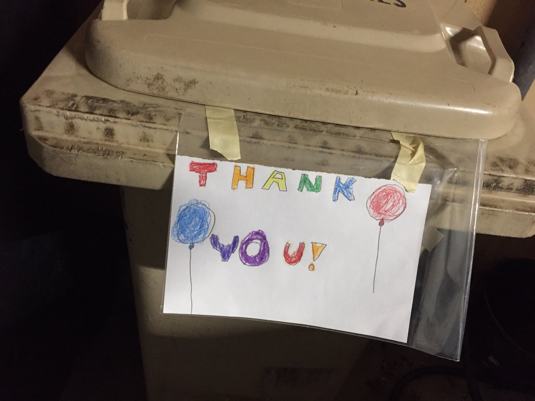 Thank You trash bin